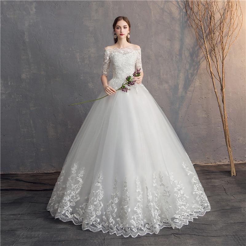 EZKUNTZA Half Sleeve Vintage Wedding Dresses 2019 Off Should Embroidery Vestidos De Noivas Plus Size Bridal Ball Gowns(China)