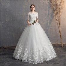 Женское винтажное свадебное платье EZKUNTZA, бальное платье с коротким рукавом и вышивкой, Без размера плюс, 2019