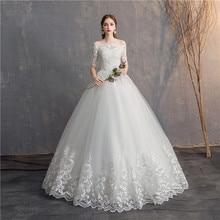 Ezkuntza vestidos de noiva, vestidos de noiva vintage, meia manga, desconto, vestidos de noiva plus size, 2019