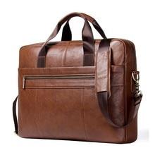 цены Top Quality Genuine Leather Men Laptop Briefcase For 17 Inch Computer Men's Crossbody Bags Large Capacity Business Shoulder Bag