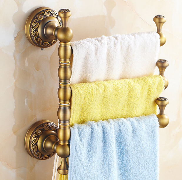 Luxury12.9  Vintage Style Towel Bar Antique Brass Ceramic Three Tiers Antique Brass Wall Mounted Revolve Bathroom Towels Holder new arrival solid brass bathroom revolve towel bar antique brass four tiers bath towel holder rack wall mounted