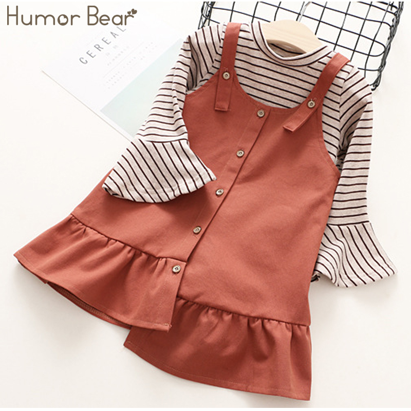Humor Bear Kids Dress 2017 New Autumn Children Clothes Girls Dress Brand Baby Girls Dress+Long Sleeves Striped T-shirt 2Pcs 2pcs children outfit clothes kids baby girl off shoulder cotton ruffled sleeve tops striped t shirt blue denim jeans sunsuit set