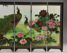 Details Old about Superb Beautiful Oriental Lacquer Handwork Painting peafowl fold screen