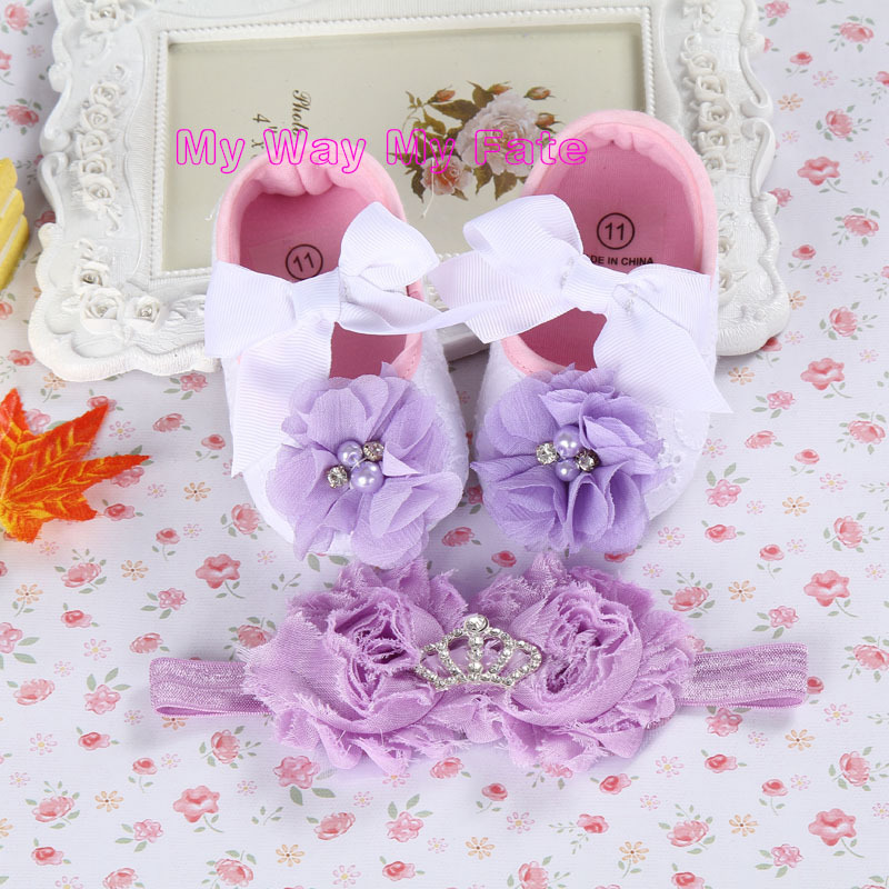 Baby Girls summer Rhinestone infant shoes,Cute newborn booties,flower girl shoes Headband Set,toddler slippers