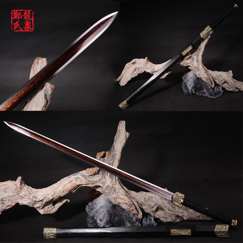 Настоящий Китайский Меч imiated damscus стальное лезвие черное покрытие металл ремесло украшения дома для продажи