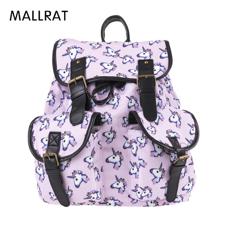 MALLRAT Holo Unicorn 3D Printing Backpack Women Bag Mochila Bookbag School Bags for Teenage Girls Sac a Dos Canvas Backpacks hynes eagle 3 pcs set 3d letter bookbag boys backpacks school bags children shoulder bag mochila girls exo printing backpack