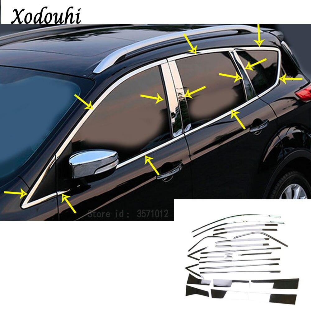 Pour Ford Kuga 2017 2018 2019 bâche de voiture style corps bâton en acier inoxydable verre fenêtre garniture pilier moyenne colonne bande garniture