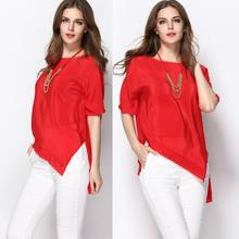 XXXL Top Quality New Fashion Silk Shirts 2015 Summer Women Solid Color Batwing Sleeve Casual Loose