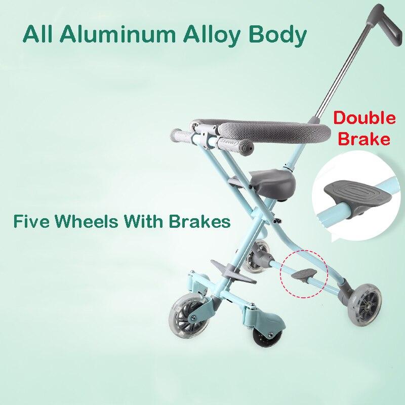 Oyuncaklar ve Hobi Ürünleri'ten Sürülebilir Araçlar'de Bebek Shining Katlanabilir Arabası Ile Çocuklar Için Çit Üç Tekerlekli Bisiklet Beş Tekerlekli Bebek Arabası Işık Katlanır Bebek Yük taşıyan 30 KG'da  Grup 1