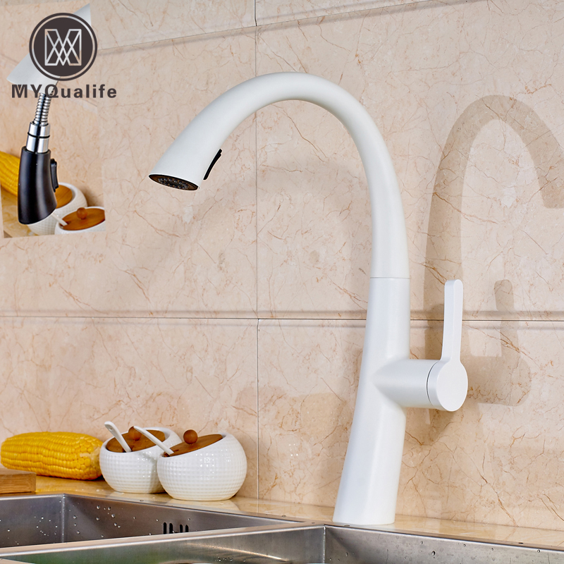 New Hot Sale Pull Out Spout Kitchen Faucet White Painting Kitchen Vessel Sink Mixer Tap Sprayer Swivel Spout Water Taps led spout swivel spout kitchen faucet vessel sink mixer tap chrome finish solid brass free shipping hot sale