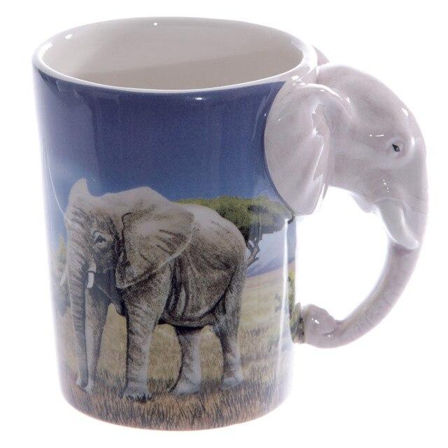 5d76ec87f 6 Peças Maravilhosas Savana! elefante Em Forma de Alça Caneca Copo Elefante  com Savannah Decalque