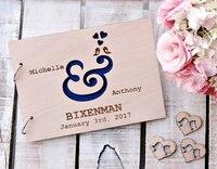Livro De Convidados Do Casamento Pássaros do Amor de madeira Presente de Aniversário de Casamento Do Chá de Panela