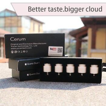 5pcs original Yocan Cerum atomizer tank replacement head Ceramic donut/Quartz dual coil for cerum atomizer e-cigarrat
