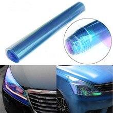 Chameleon Blue Color Headlight Taillight Fog Light Vinyl Smoke Car Lamp Film Sheet Sticker Cover 12*40inch