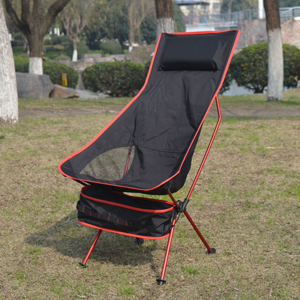 Garden chair outdoor folding beach chair with storage bag for Chair with storage