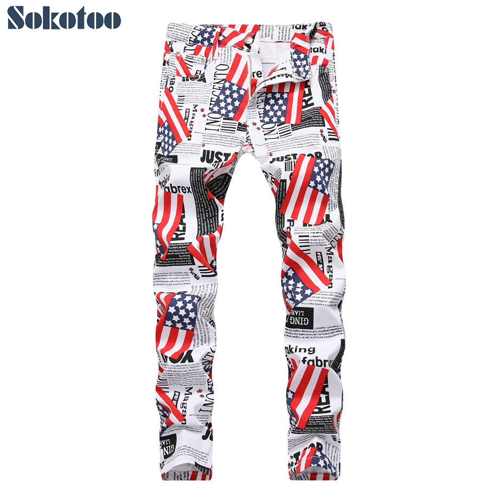 Sokotoo Men's American Flag Paper Letters Printed Jeans Fashion White Lightweight Denim Slim Pants