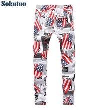 Printed Jeans Slim-Pants Sokotoo White Fashion Denim Men's American Lightweight Flag-Paper