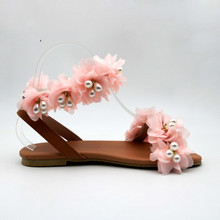 2019 Fashion Summer Flat Sandals Women Flowers Handmade Beaded Rhinestones Pearl Lady Wind Comfort Sandals Plus Size 34-43