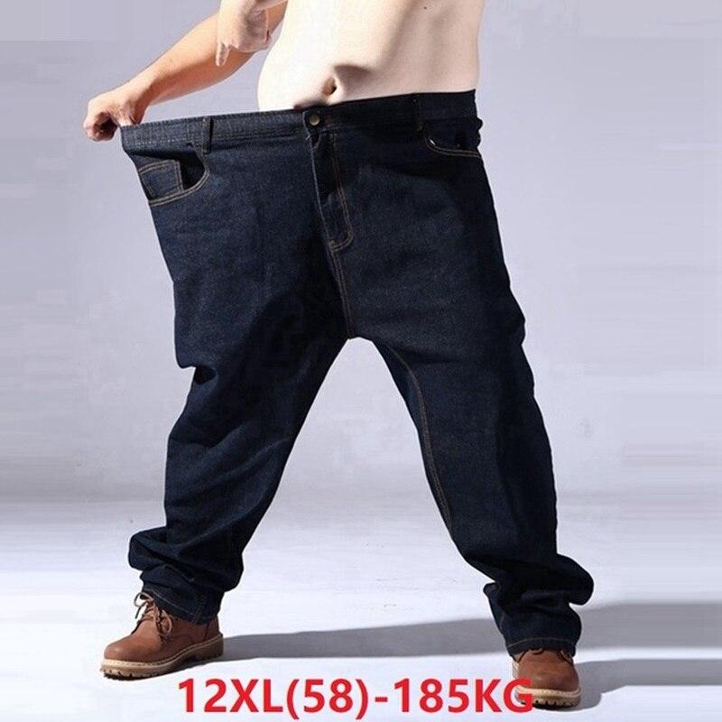 big size jeans for men oversize 9XL 10XL 11XL 12XL high waist jeans Trousers man denim pants straight 62 64 66 Elasticity jeans