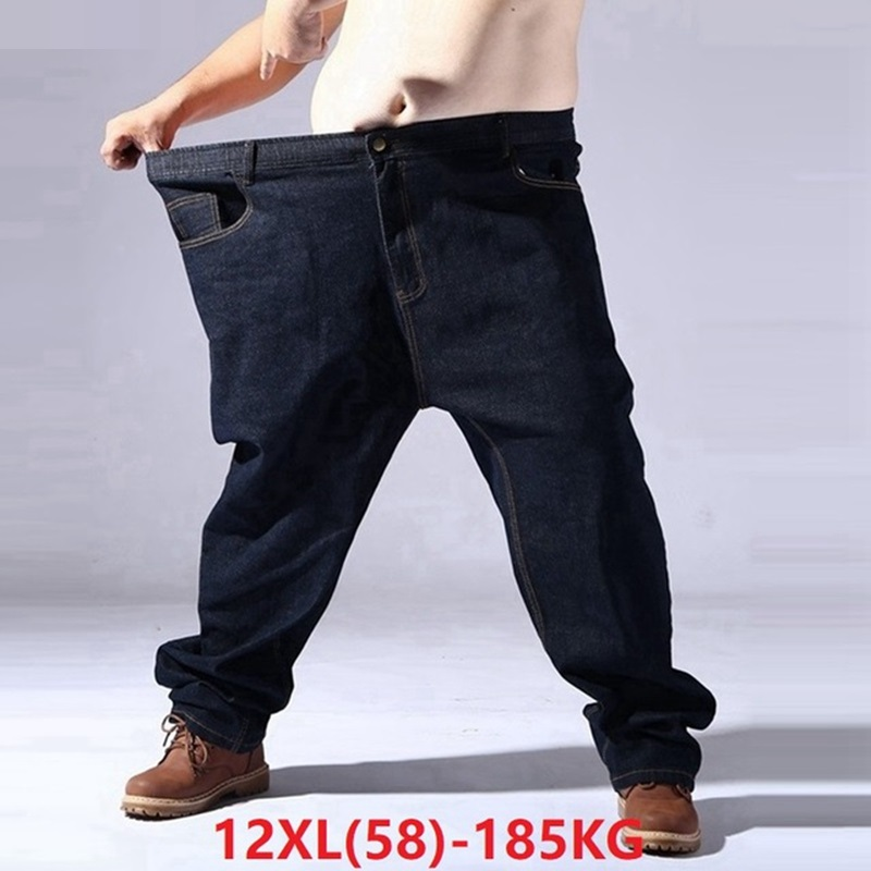 Big Size Jeans For Men Oversize 9XL 10XL 11XL 12XL High Waist Jeans Trousers Man Denim Pants Straight 62 64 66 Elasticity Jeans