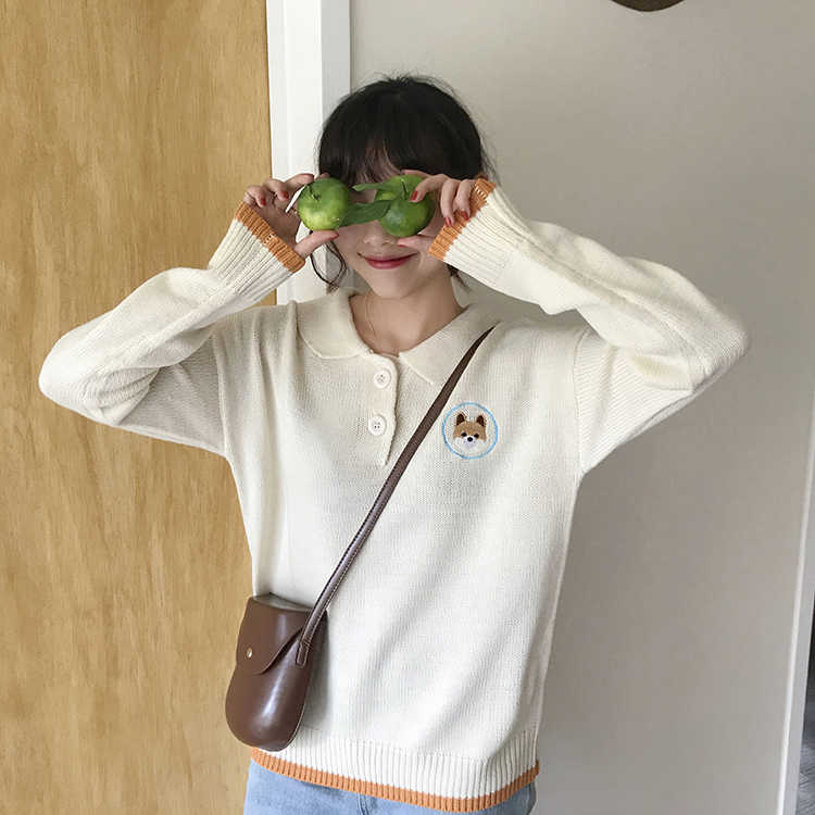 2c8d50597fb Detail Feedback Questions about 2 colors 2018 autumn and winter korean  breif cartoon dog embroidery knitted sweaters womens sweaters and pullovers  (F1320) ...