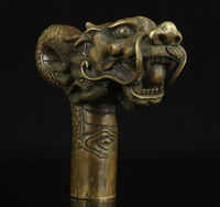 100% bronze Pure Copper Brass old Grandpa Good Lucky Walking Stick Head China Old Handwork Carving Bronze Dragon Statue Cane