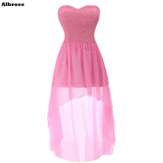 Hot Pink High Low Prom Dresses Beaded Short Prom Dress Chiffon ...
