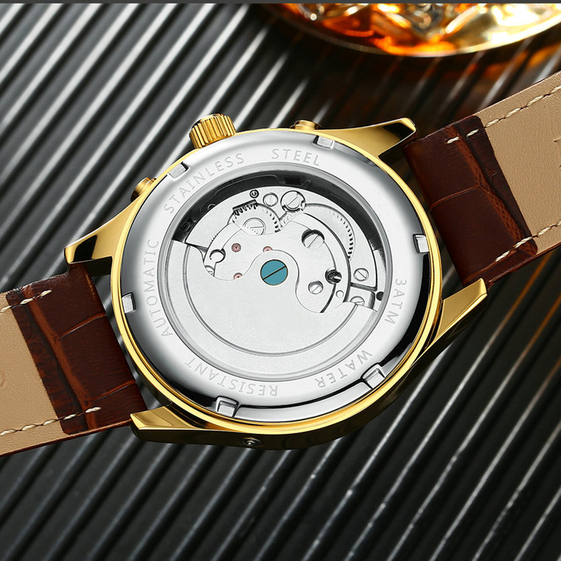 KINYUED Squelette Tourbillon Mécanique Montre Hommes Automatique Classique Rose D'or En Cuir Mécanique Poignet Montres Reloj Hombre 2017 - 4