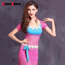 2017 New Women Belly Dance Costumes 4Pcs(Dress+Free Leggings+Bra+Belt) Lace Sexy Belly Dance Gypsy Clothing Indiana Dresses