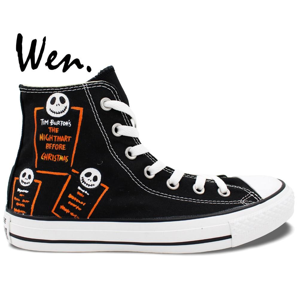 Wen Hand Painted Shoes Custom Design Nightmare Before Christmas Jack  Skellington Black High Top Women Men s Canvas Shoes 2b18daf91a08
