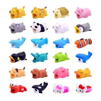 CHIPAL Cute Chompers Cable Protector Bite Cable Winder Cat Dog Duck Rabbit Koala Panda Animal Bites Organizer Holder For iPhone