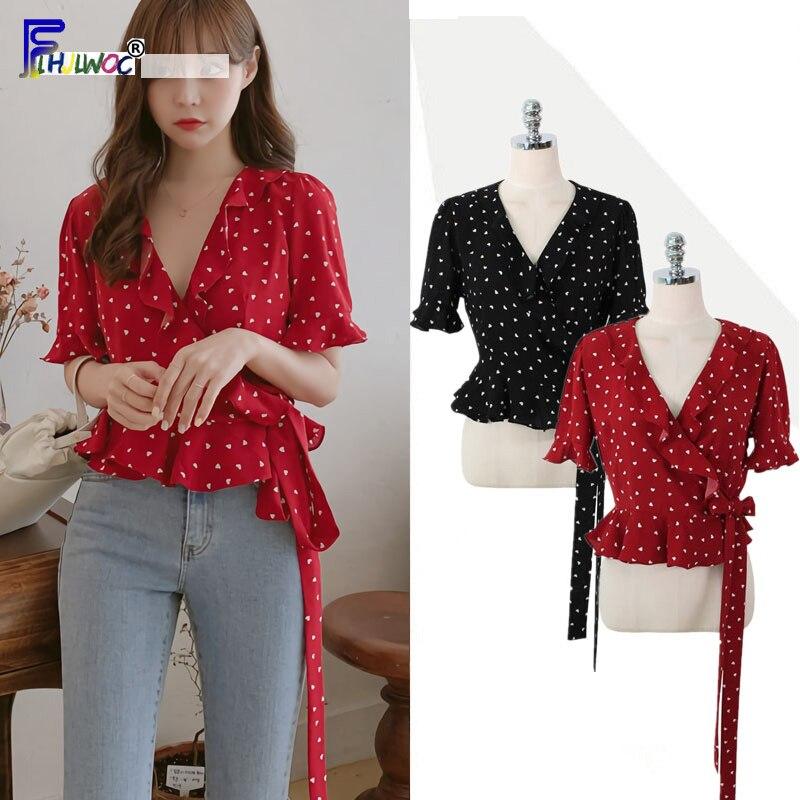 Summer Cute Short Tops Woman Flare Sleeve Casual Slim Waist Bow Tie Ruffled   Blouse     Shirt   Preppy Style Korea Japan Clothes