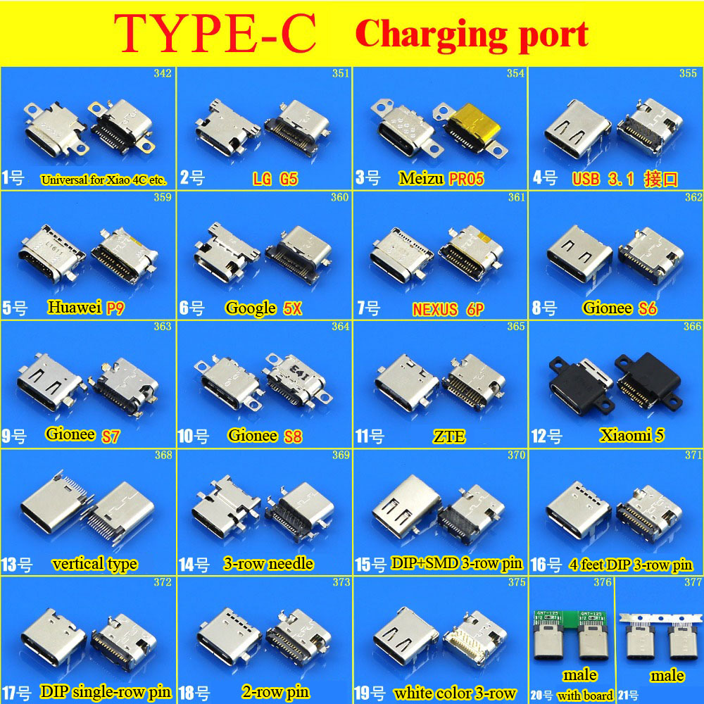 Ship from Russian Micro USB Type C Connector Female Charge Charging Dock port Plug Type-C USB Socket jack for HUAWEI MEIZU LeTV