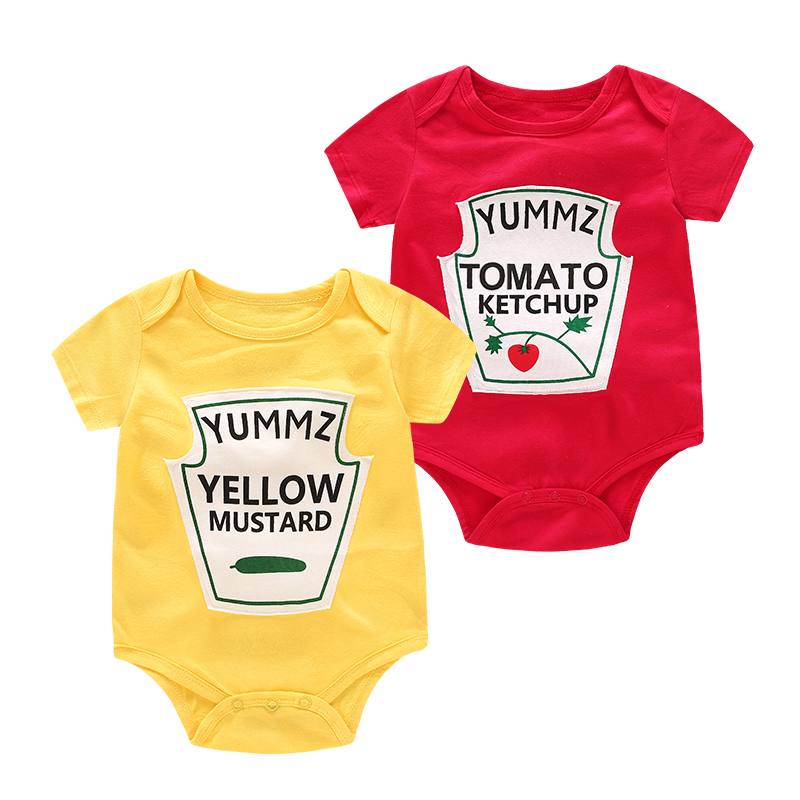 Yummz Tomato Ketchup Yellow Mustard Red And Yellow Bodysuit Baby Boy Twins Baby Clothes Twins Baby Boys Girls DS9