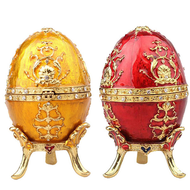 Free shipping Easter egg faberge jewelry trinket box Vintage decoration  weddinmetal crafts birthday Gift for Her Christmas gifts 61e36408c880