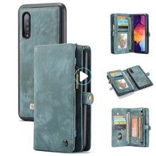 Para Samsung Galaxy A20 A30 A50 funda de lujo de cuero genuino Flip Wallet funda para Samsung trasera de teléfono móvil A40 A70 A50