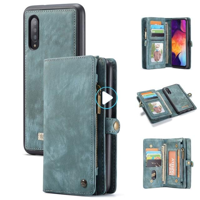Para samsung galaxy a20 a30 a50 caso luxo genuíno flip carteira capa de couro caso de volta do telefone móvel para samsung a40 a70 a50