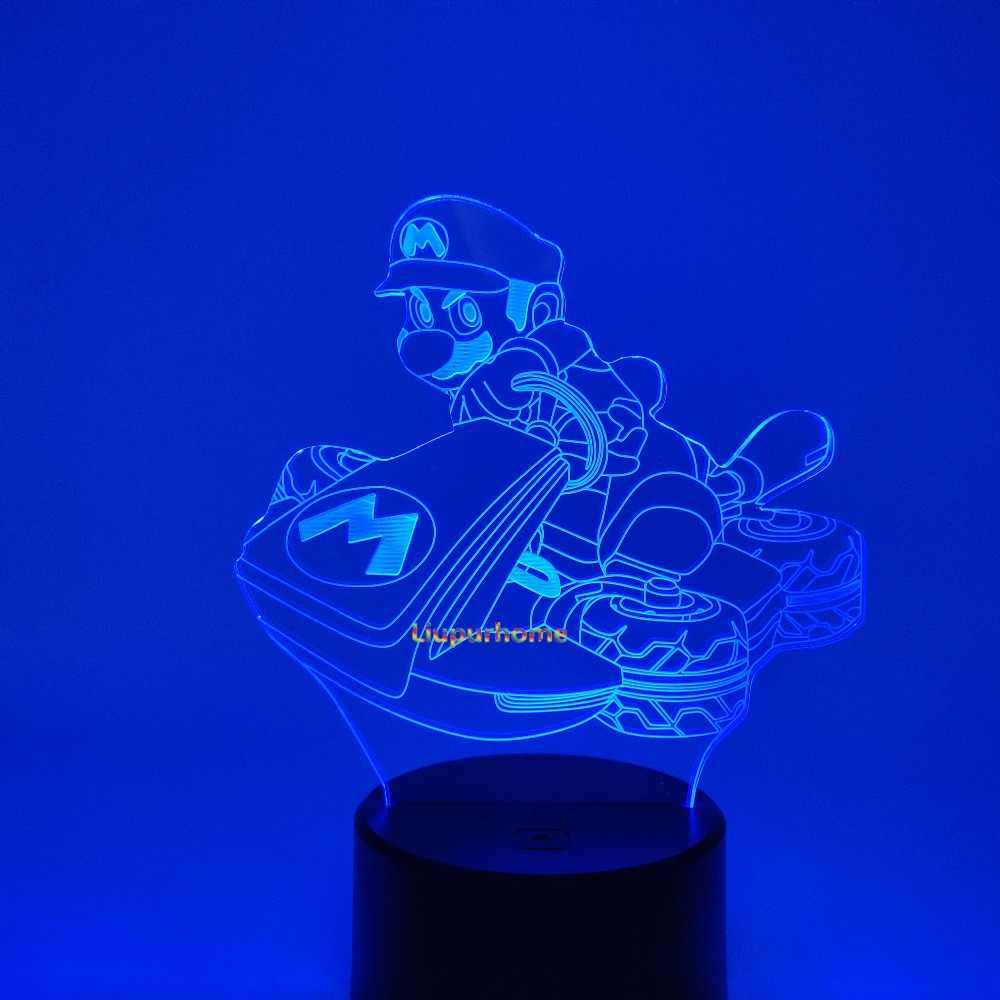 Lamparas Mario Kart Lampu Malam Ilusi Lampu Meja Super Mario Game Balap Mobil Baru Lampu LED Lampara