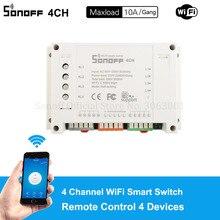 Sonoff 4CH 10A/Gang Wifi akıllı anahtarı 4 Gang dört kanallı uzaktan Wifi ışık anahtarı kontrolü 4 cihazlar çalışma alexa Google ev ile