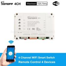 Sonoff 4CH 10A/Gang Wifi commutateur intelligent 4 gangs quatre canaux télécommande Wifi interrupteur de commande 4 appareils fonctionnent avec Alexa Google Home