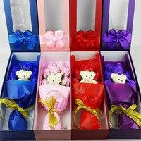 2017 מתנת יום האהבה חדשה 9 יח'\קופסא עלה פרח סבון עם דוב קטן קופסא מתנה רומנטי ריחני סבון אמבט הסבון רוז פרחים