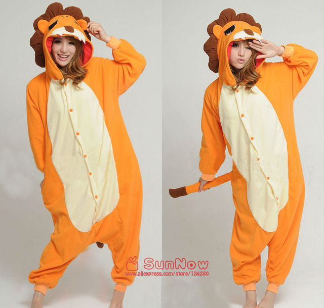 077d11371 NEW Adult Men Lion Onesies Cosplay Costumes Polar fleece Cartoon Animal  type Cosplay Pajamas Sleepwear for Women Halloween Party