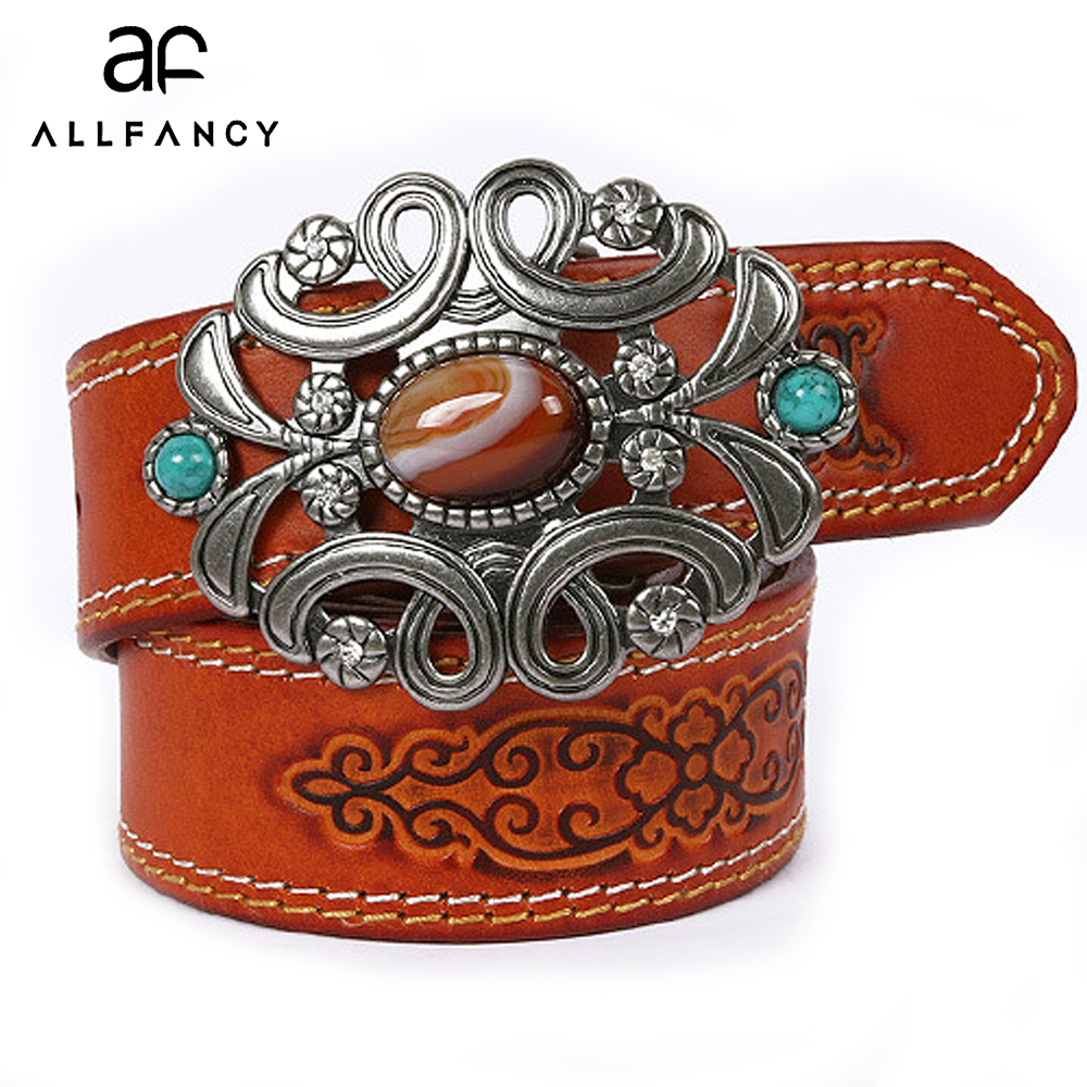Female belt national wind leather belt of the stone buckle Men's leather girdle stone ring cowhide belt buckle Retro gothic belt