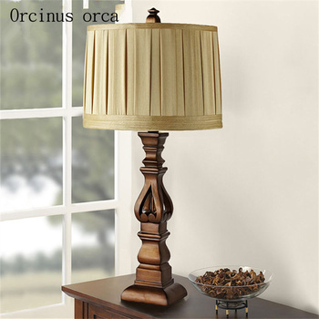 Estilo europeu quarto lâmpada de cabeceira lâmpada quarto retro luxo sala estar palácio pano aldeia porte livre