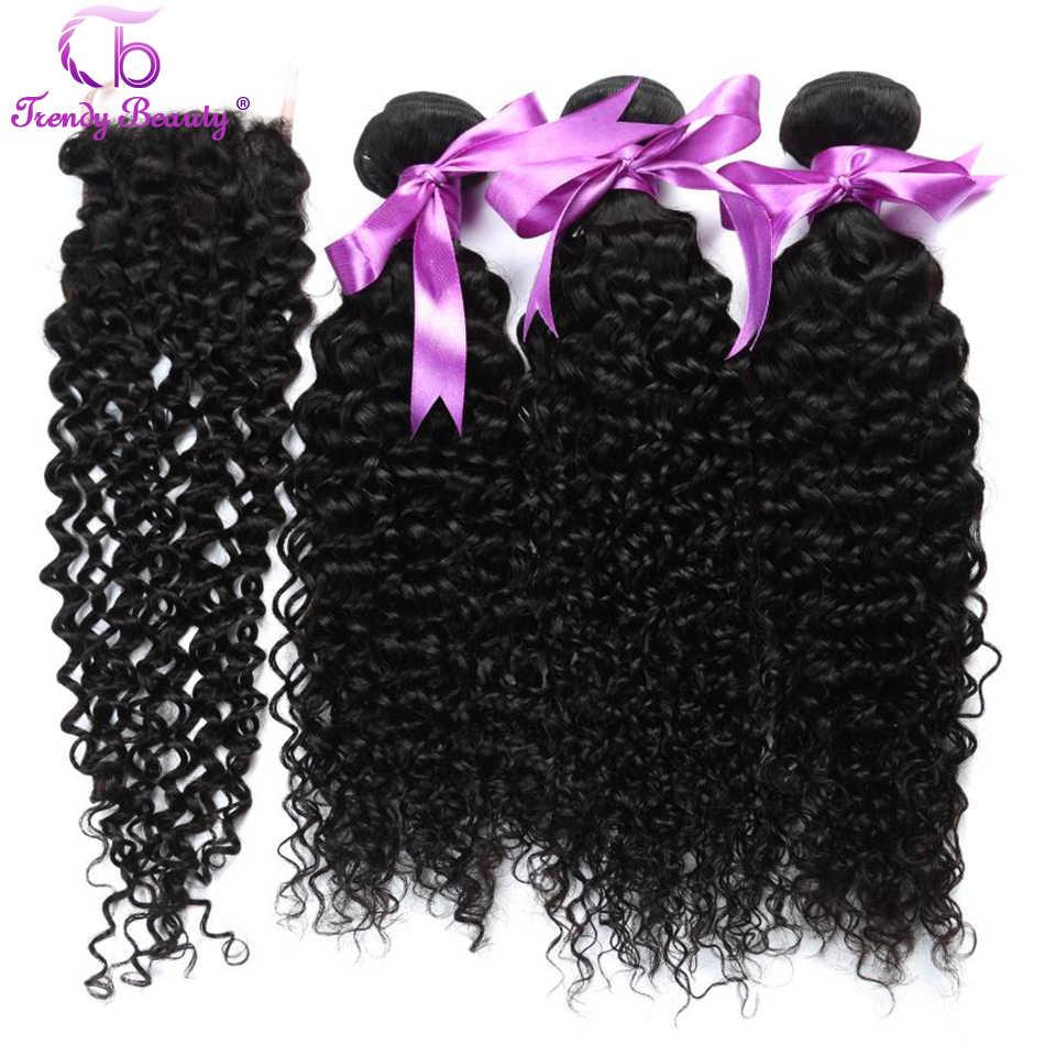 Brasilianische Verworrene Lockige mit Frei/Mittleren/Drei Teil Spitze Schließung Menschliches Haar Bundles mit Verschluss Natürliche Schwarze Farbe trendy Schönheit