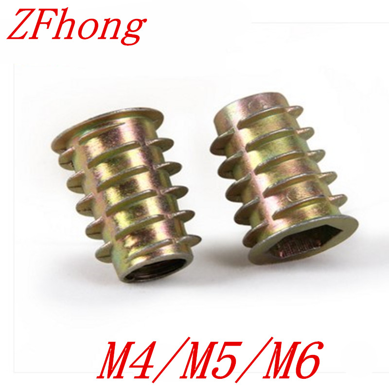 50Pcs M4/M5/M6*8/10/13 Zinc Alloy Wood Insert Nut Flanged Hex Drive Head Furniture Nuts 10 pcs zinc alloy hex drive head screw insert nut threaded for wood m8x15mm