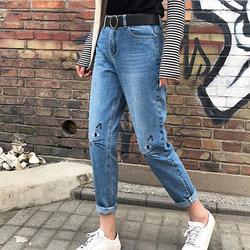 Джинсы с высокой талией женские 2018 Весна бойфренд джинсы для женщин милый кот узор джинсовые штаны мама джинсы Femme манжеты