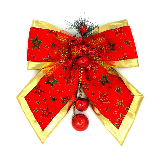 christmas ribbon flannel bowknot large red bow tie jingle bells decoration gift xmas tree hanging ornament