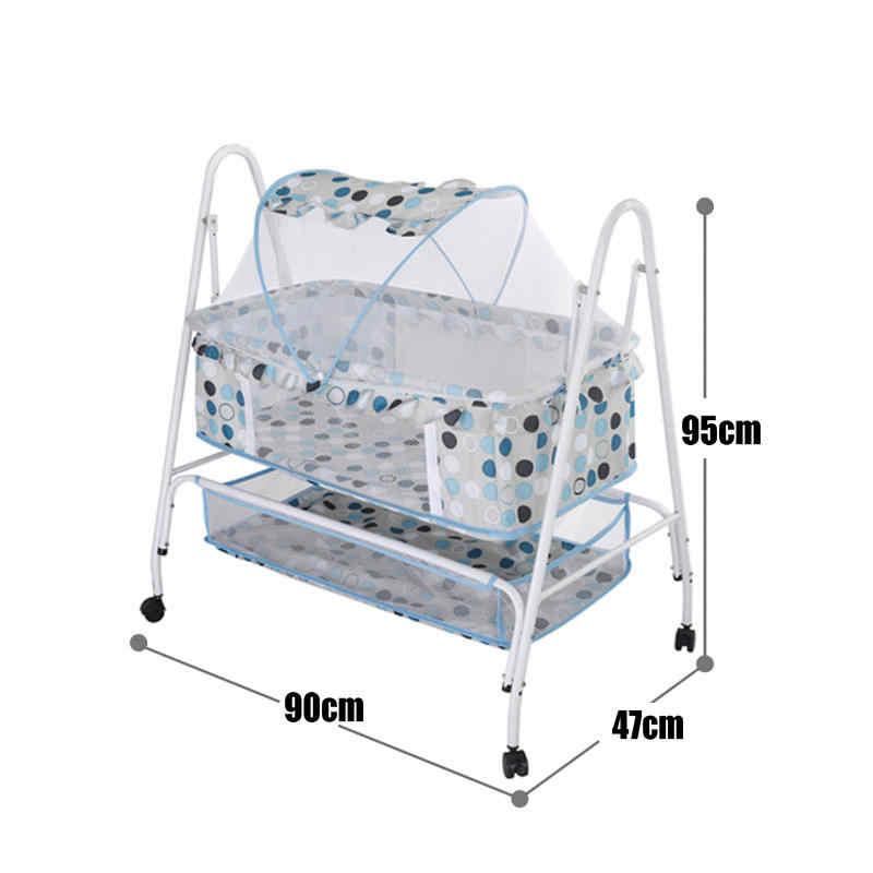 Детская кровать-колыбель, детская кровать-качалка, гамак-качели с 4 колесами, детская колыбель с москитной сеткой