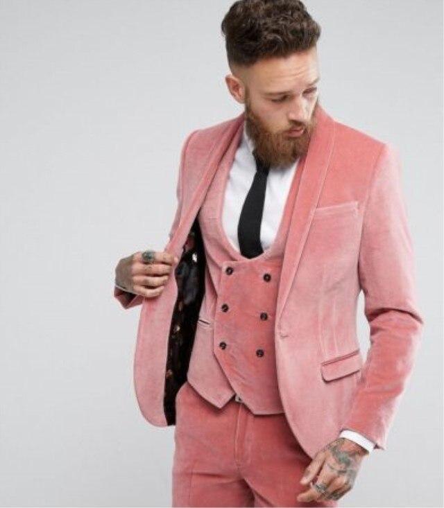 Розовые бархатные Мужские костюмы из 3 предметов (пиджак + брюки жилет) смокинги